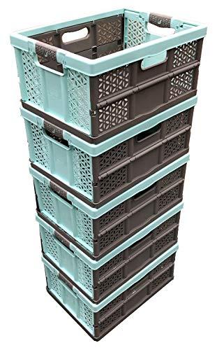 Aufbewahrungskisten, 32 l, extrastark, zusammenklappbar, Kunststoff, 30 kg Tragkraft pro Box, weiche Griffe, 5 Stück (Storage Plastic 32 Box Liter)