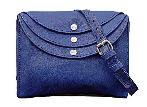 LA MINAUDIÈRE Bleu électrique Sac à main cuir pochette femme style vintage PAUL MARIUS