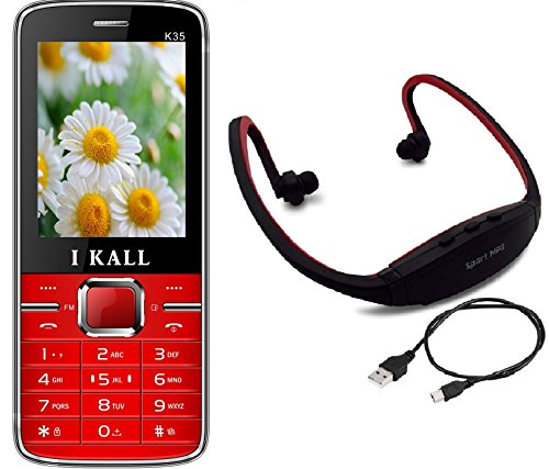 I KALL K35 Dual Sim Mobile With MP3/FM Player Neckband -Red
