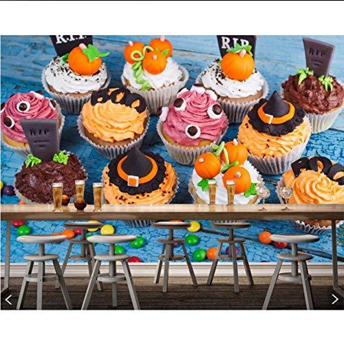 Fushoulu Süßigkeiten Süßigkeiten Kuchen Halloween Cupcake Essen 3D TapeteFür Wohnzimmer Dessert-Shop Küche Restaurant Café Bar-200X140Cm