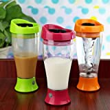 PERFECT SHOPO Portable Battery Powered Electric Self Stirring Mug Skinny Moo Mixer Chocolate Milk Coffe Cup / Automatic Battery Operated Self Stirring Mug , 14OZ Instant Chocolate Milk Mixer – Cup, Mixer, Blender, Shaker