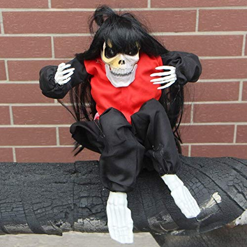 WSJDE Elektro Horror Scream Halloween Horror Ghost Gruselige Halloween Puppe Spielzeug Schluchzen Kind Gruselige Halloween Dekoration Haunted Scary RequisitenSchwarz
