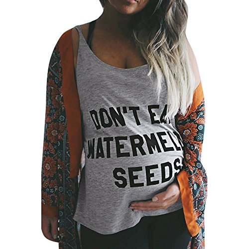 Mutterschaft Kurzarm T-Shirt Tank Tops Don't Eat Watermelon Seeds Brief Drucken Umstandsshirt Damen Sommer Basic Umstandsmode Bluse Basic Unterhemd Lose Schwangerschaft Kleidung (Tank Tops, M)