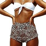 Nhiswsgt Pantalones Cortos Casuales de la Playa del Leopardo de la Moda de Las Mujeres