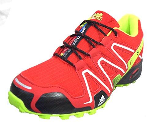 BTS 1672–16 sPEEDSANDIC trailschuh, chaussures de course-couleur :  rouge/jaune fluo taille 41–46 pied Multicolore - Rot/ Neon Gelb