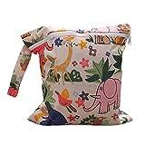 Baby Tasche mit Reißverschluss, wasserfest, wiederverwendbar, Windeltasche für Neugeborene, Jungen und Mädchen, wasserfest, verschiedene Tierbilder.