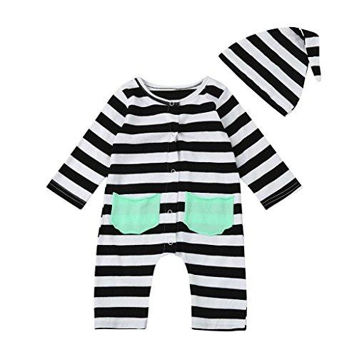 Xshuai Kleinkind-Baby-Jungen-Mädchen-Streifen-langer Hülsen-netter Druck-Taschen-Spielanzug-Overall (12 Monate, (Outfits Kleinkinder Für Batman)