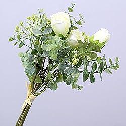 Li HUA Katzen Simulation Blume, Klein Tau Lotus Gladiolen Eukalyptus Blätter Bouquet Künstliche Blume Pflanze Home Hochzeit Grün Pflanze Dekoration, Plastik, Weiß, 35 cm