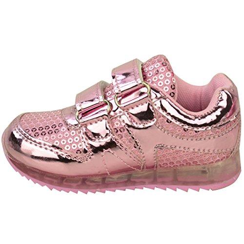 Neue Mädchen-kinder Babys LED Beleuchtung Turnschuhe Riemchen Sneakers Kleinkind-schuhe Größe Hellrosa Metallisch