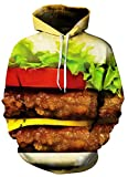 Herren Unisex 3D Druck Kapuzenpullover Sweatshirt Herbst Loose Winter Langarm Sport Chic Hoodie Jacke Kapuzenpullis Damen (Color : Hamburger, Size : XL)