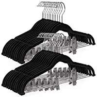 SONGMICS 30-Pack Pants Hangers, 42.5 cm Velvet Trousers Hangers with Adjustable Clips, Heavy-Duty, Non-Slip and Space-Saving for Pants, Skirts, Coat, Dresses, Tank Tops