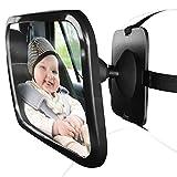 HCMAX Rücksitzspiegel fürs Baby, Bruchsicherer Auto-Rückspiegel für Babyschale - für Kinder in Kinderschale, Kindersitz, Babysitz für Einstellbar Sicherheitsspiegel Babyspiegel Schwarz
