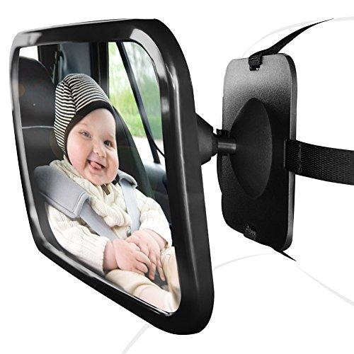 HONCENMAX Rücksitzspiegel fürs Baby, Bruchsicherer Auto-Rückspiegel für Babyschale - für Kinder in Kinderschale, Kindersitz, Babysitz für Einstellbar Sicherheitsspiegel Babyspiegel Schwarz