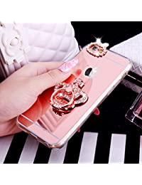iPhone 6S Plus Case,[Glitter TPU Case] ikasus Crystal Rhinestone Bling Diamond Glitter Rubber Bumper Mirror Makeup Case Ring Stand Holder TPU Mirror Protective Case Cover for iPhone 6S Plus / 6 Plus,Rose Gold Crown