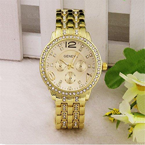 Hmjunboys Damen Uhren Edelstahl Armbanduhr Analog Quarz Einfach Design Rund Strass Casual Fashion Mädchen Legierung Uhren (Gold)