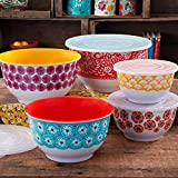 The Pioneer Woman 10-Piece Traveling Nesting Mixing Serving Bowl Set Features Vibrant Colors (Pack of 3)
