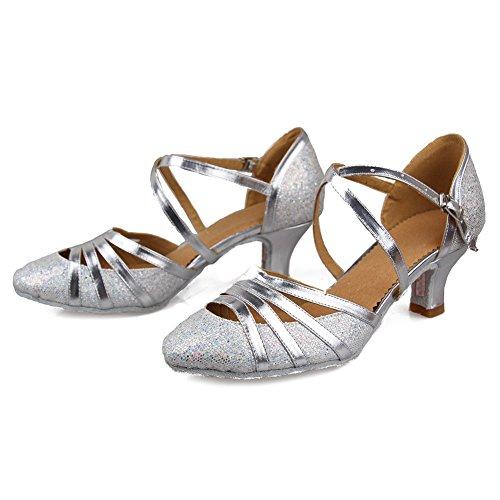 Hipposeus Femmes Ballroom Chaussures De Danse / Chaussures De Bal / Chaussures De Danse En Satin Standard Latin, Modèle-itcmj51 Silver-2