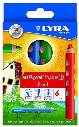 LYRA Groove Triple I Kartonetui mit 6 Farbstiften, Sortiert (Farbstifte, Deutsch)