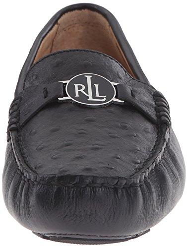 Lauren Ralph Lauren Carley Slip-on Mocassins Black Debossed Ostrich