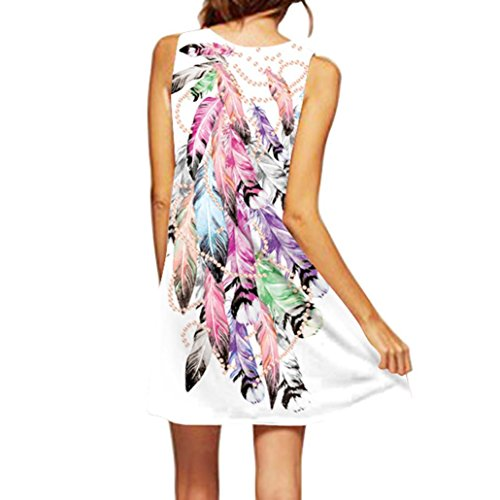 MRULIC Damen Lovely Mini Floral Printing A-Linie Kleider Beach Dress Vintage Boho damen Sommer Ärmelloses Party Kleide (EU-44/CN-XL, I-Weiß) -