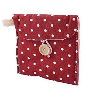 SODIAL(R) Women Rectangle Dotted Sanitary Towel Holder Bag Button Pouch Burgundy White