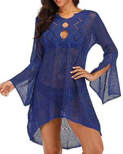 Crochet Cover-up (AUDATE Damen Boho Weben Einzigartig Bikini Cover Up V-Ausschnitt Crochet Stricken Strand Sommerkleid Strandkleid)