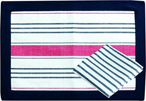 MB Coastal Designs 2tlg. Nautical Wasserdicht Rot Streifen Tisch-Sets und Serviette Set, marineblau/rot (Küsten-dekor-tischsets)