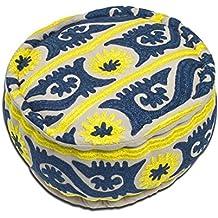 Puff Mueble Auxiliar Azul y Amarillo. India.20 x 40 x 40 cm.