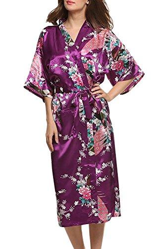 Dolamen Damen Morgenmantel Kimono, glatte Satin Nachtwäsche Bademantel Robe mit Peacock und Blume Kimono Negligee Seidenrobe locker Schlafanzug, Langer Stil (X-Large, Lila) (Lila Kimono)