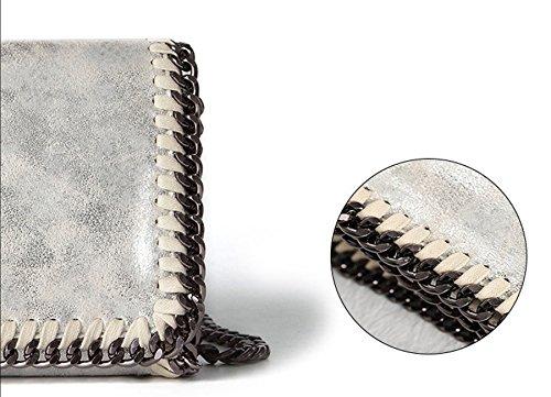 Rovanci Damen Handtasche Elegant Taschen Damen Shopper Schultertasche Kette Silber Silber