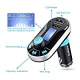 [Upgraded Version] VicTsing Bluetooth MP3 Player FM Transmitter Hands-free Car Kit Charger, Dual USB Charging 5V/2.1A Output, Micro SD/TF Card Reader Slot for iPhone SE 6s 6s Plus iPhone 6 6 Plus, iPad, etc - Silver Bild 1