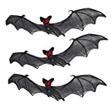 Prextex Ensemble de décor d'Halloween de 3 Chauves-Souris effrayantes suspendues en Nylon ressemblance réaliste pour la Meilleure décoration d'halloween