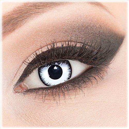 Farbige weiße schwarze Crazy Fun Kontaktlinsen 1 Paar 'Lunatic' mit Behälter - Topqualität von 'Evil Lens' zu Fasching Karneval Halloween ohne Stärke