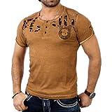 Reslad Herren Batik Look T-Shirt RS-4054 (S, Camel)