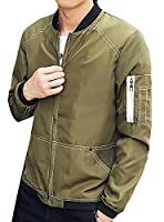 Fulok Mens Baseball Coat Stand Collar Zipper Thin Jacket S Army Green
