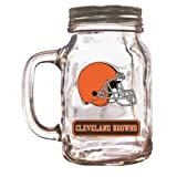 Officially Licensed NFL Glass Mason Jar Cup with Screw Cap - Cleveland Browns