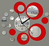 Itian-Reloj-de-Pared-de-Metal-con-la-Decoracin-Efecto-de-Espejo-Moderno-Etiqueta-de-la-Pared-de-Diseo-para-Sala-de-Estar-Dormitorio-etc-Plata-y-Rojo