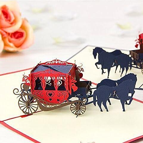 Tutoy Hochzeits-Wagen 3D Knallen Oben Gruß-Karte Valentinsgruß-Vorschlag-Hochzeits-Party-Gruß-Karte