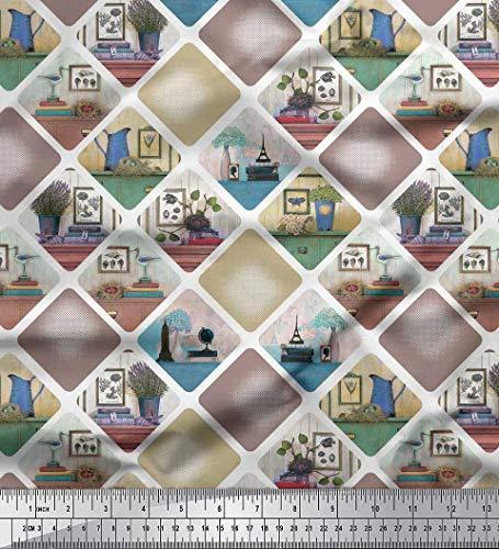 Soimoi Braun Kunstseide Stoff Rahmen, Krug & Blumentopf Patchwork Drucken Nahen Stoff 1 Meter 56 Zoll breit