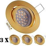 3er LED Einbaustrahler Set Gold / Messing mit LED GU10 Markenstrahler von LEDANDO - 5W - schwenkbar - warmweiss - 60° Abstrahlwinkel - A+ - 50W Ersatz