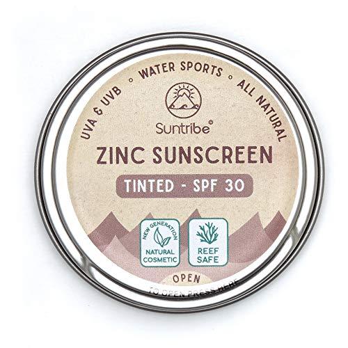 Suntribe Bio-Sonnencreme LSF 30 - Sport & Gesicht - 100{d2c4dd3400166f9c6ae1a097e9b81043e44ac643c4f9601d36d352eedca4cd88} Zink - Riff freundlich / Reef safe - 4 Inhaltsstoffe - Wasserfest - GETÖNT (45 g)