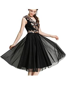 Folletos Malla V-cuello Sin Mangas La Falda Vestido Negro Vestido