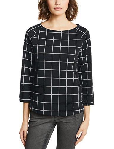 Street One Raglan Shirt with Check Dessin, T-Shirt Donna Schwarz (Black 20001)