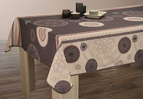 Nappe anti-taches Tzigane Gris - taille : Rectangle 150x300 cm