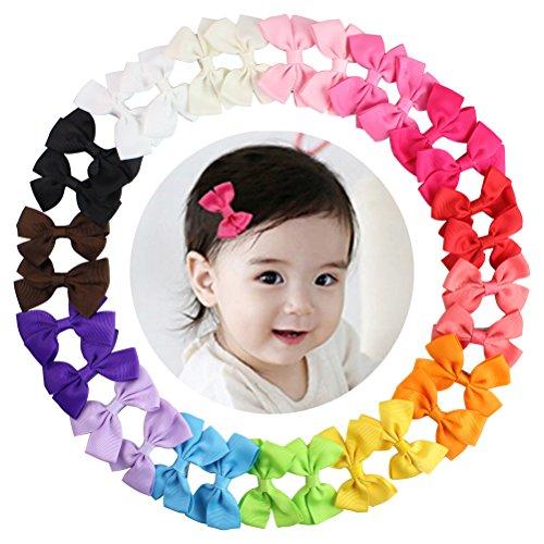 Foto de HBF 30 Piezas Lazos Pelo Niña Bebe Cinta Lazo 15 Colores Pinzas Para El Pelo Bebe Accesorio Para El Pelo