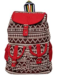 [Sponsored]Roshiaaz Women's Stylish Canvas Backpack Bag Handbag With Beautiful Design, Red And Black