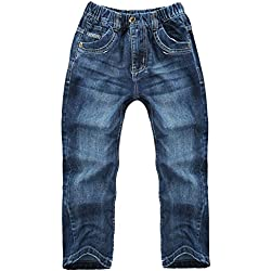 XiaoYouYu Jungen Mode Gerade Baumwolle Jeans Blau 158