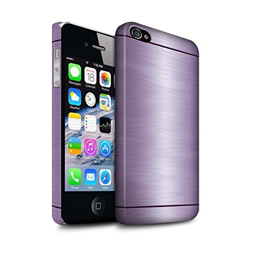 Stuff4® Matte Snap-On Hülle/Case für Apple iPhone 4/4S / Lila Muster/Gebürstetem Metall Mutser Kollektion (Gebürstetem Iphone Case 4s Metall)