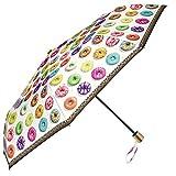 Leichter Regenschirm - Taschenschirm Perletti - kompakter Schirm, perfekt auf Reisen - manuelle Öffnung Damenschirm - Durchmesser 97 cm - Donuts Design (Donuts)