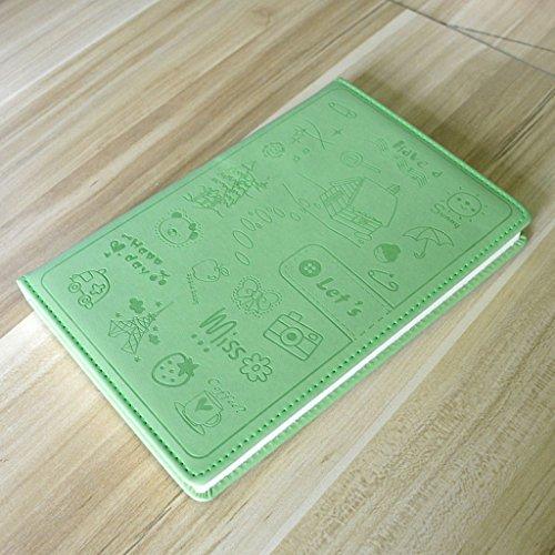 CS A5 Notebook Cute Cartoon Schreibwaren Leder Notebook Business Bürobedarf Tagebuch 80G Dick (Color : Green) - Cs-serie-notebooks